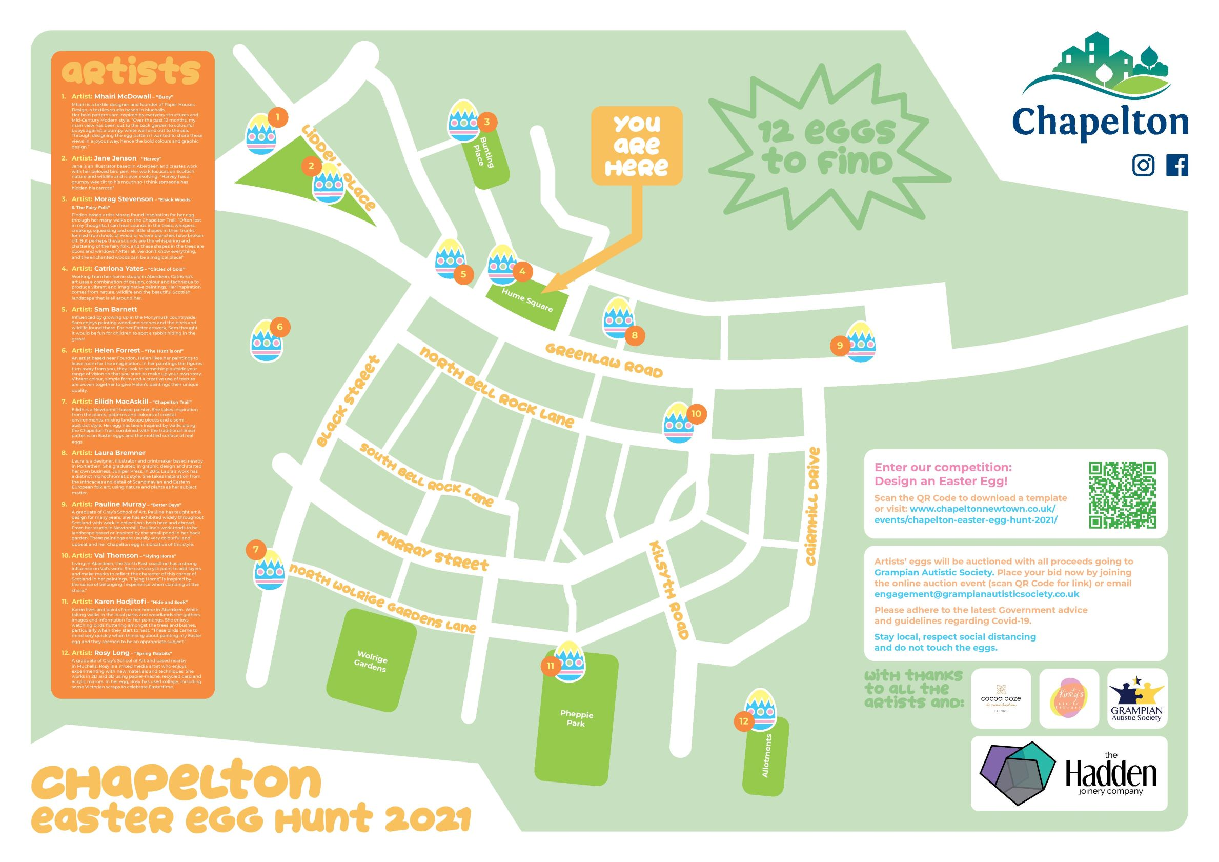 Chapelton Easter egg hunt map with artists